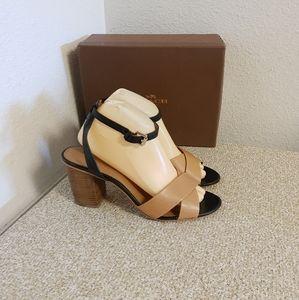 Coach Pacific Tan Black Leather Sandals